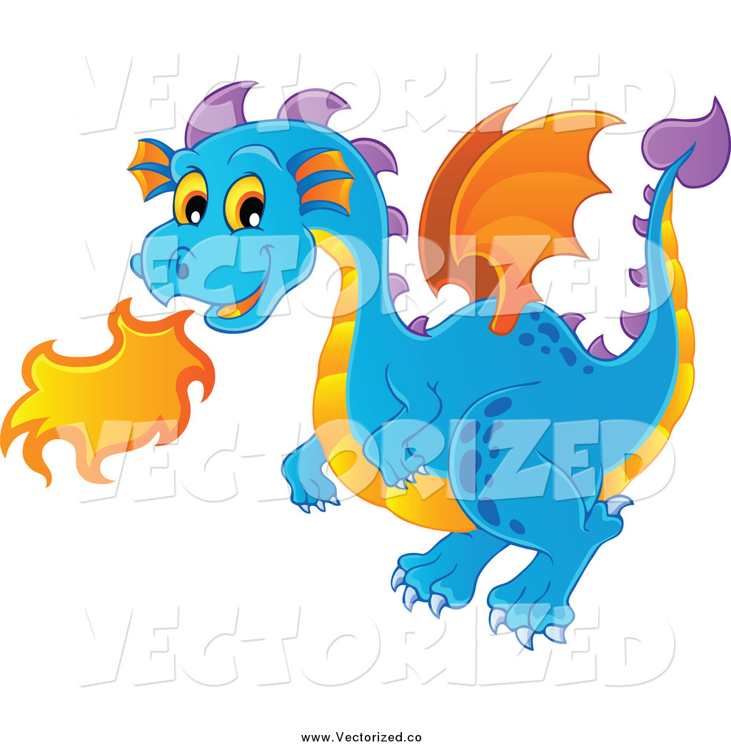 1024x1044 Royalty Free Clipart Of A Cute Blue Fire Breathing Dragon By