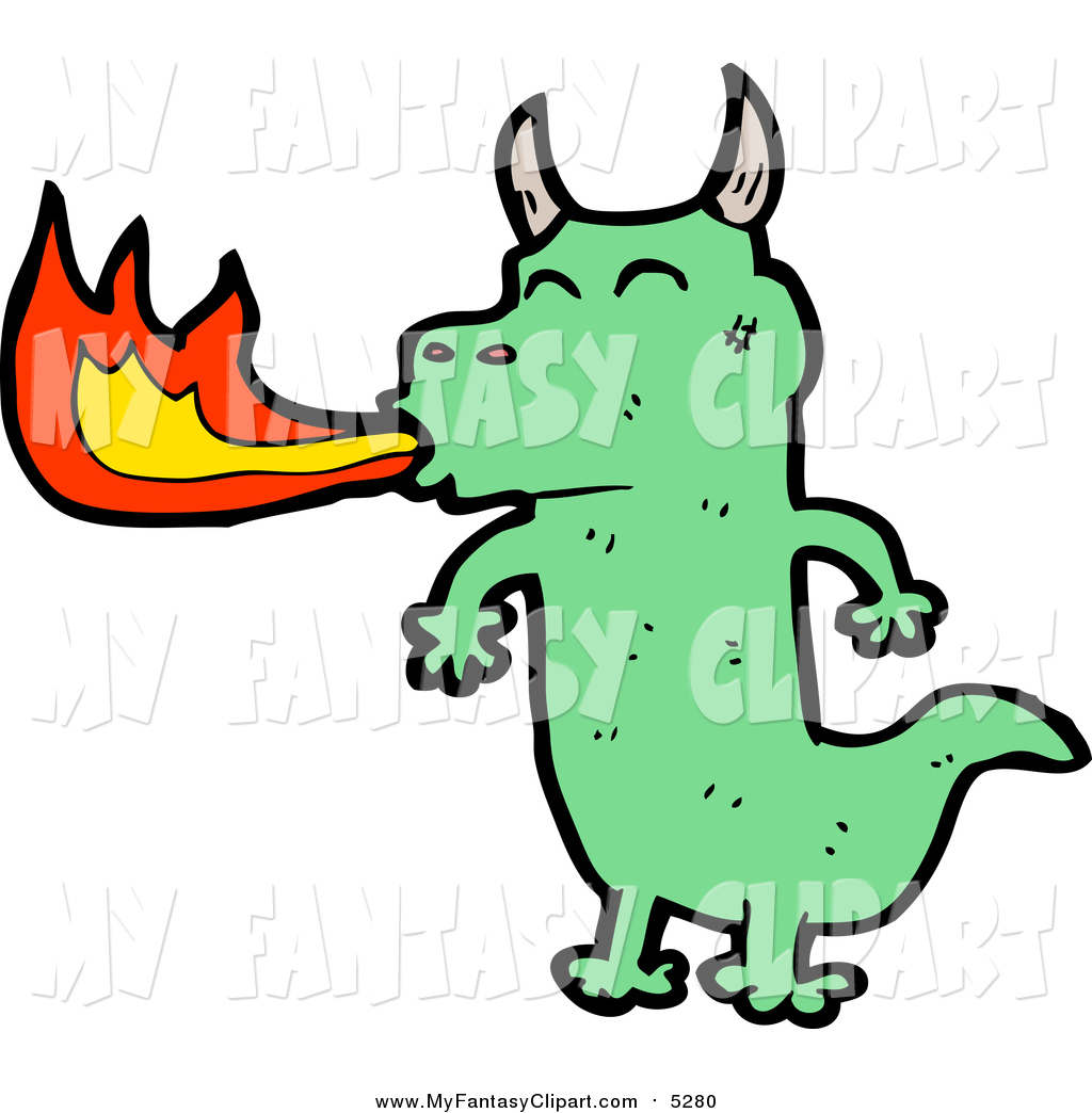 1024x1044 Clip Art Of A Green Dragon Breathing Fire By Lineartestpilot