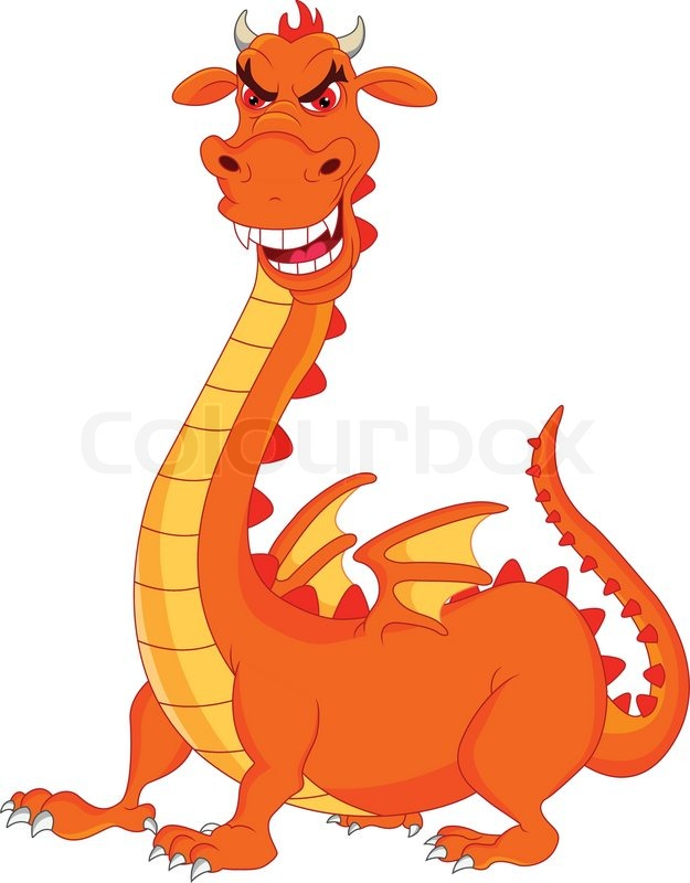 625x800 Cute Dragon Fire Cartoon Stock Vector Colourbox