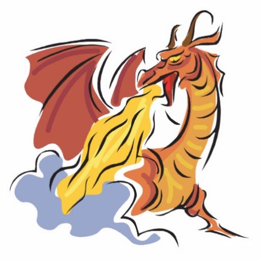 512x512 Cartoon Dragon Breathing Fire