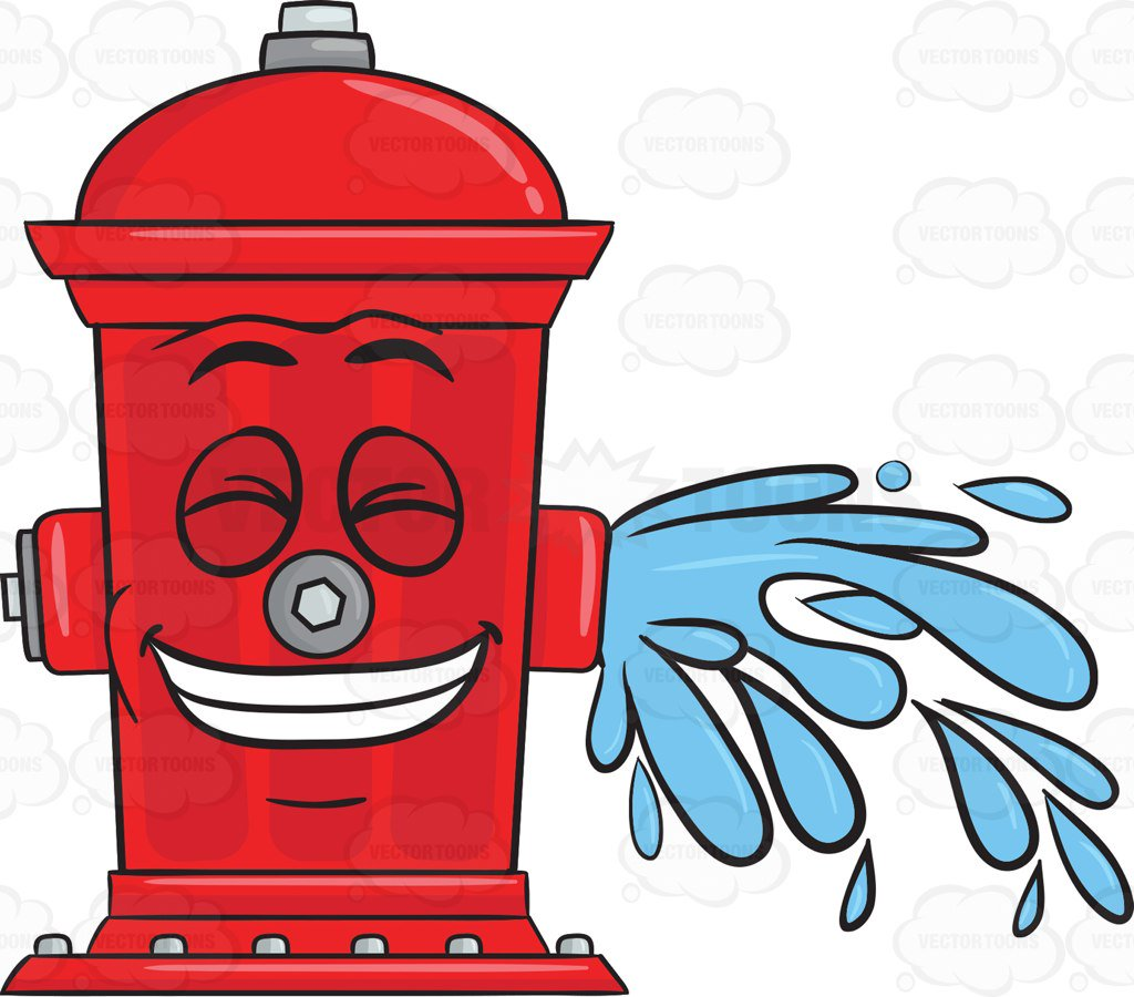 1024x900 Giddy Looking Fire Hydrant While Flushing Water Emoji Cartoon