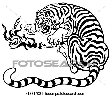 450x389 Clipart Of Tiger Playing With Fire K18314031