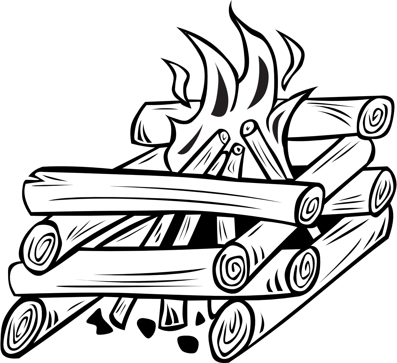 1331x1216 Black And White Camp Fire Clipart