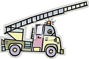 300x199 Art Image The Ladder Extended On A Fire Truck