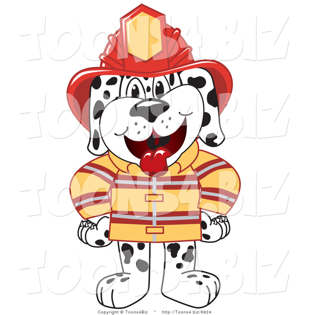 1024x1044 Vector Illustration Of A Cartoon Fireman Dalmatian Mascot By