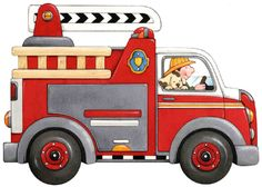 236x168 Cartoon Clip Art Firetruck Emergency Vehicle Truck Standing Photo