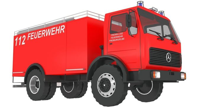 676x365 3d Model Old Mercedes Fire Engine Cgtrader