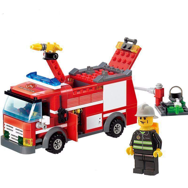 800x800 Minifigure Rescue Fire Engine Set (206 Pieces)