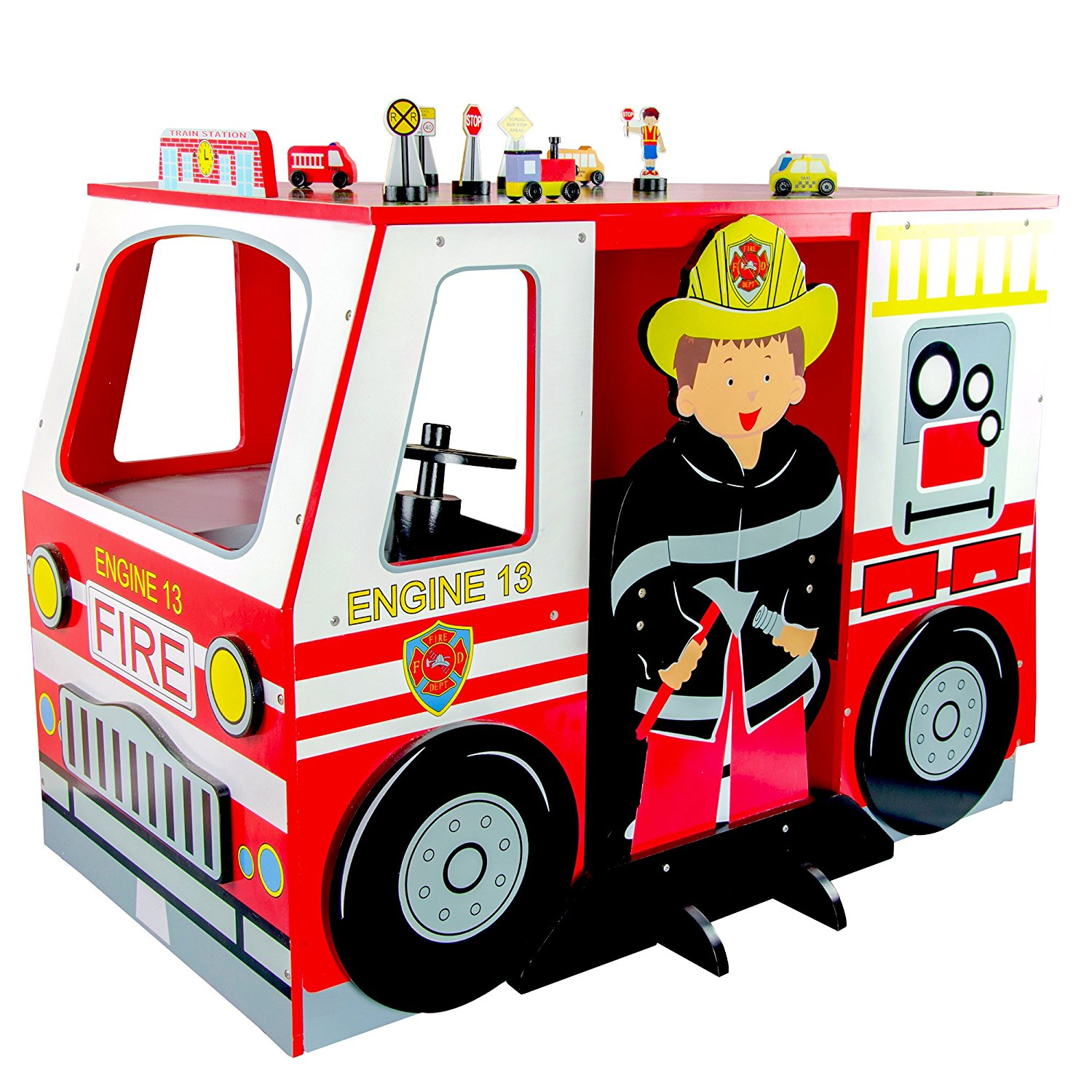 1500x1500 Teamson Kids Fire Childrens Wooden Learning Study Fire Engine Desk