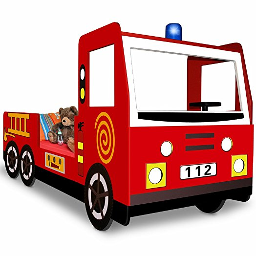 524x524 Car Bed Fire Engine Truck Toddler Childrens Kids Bedroom Furniture