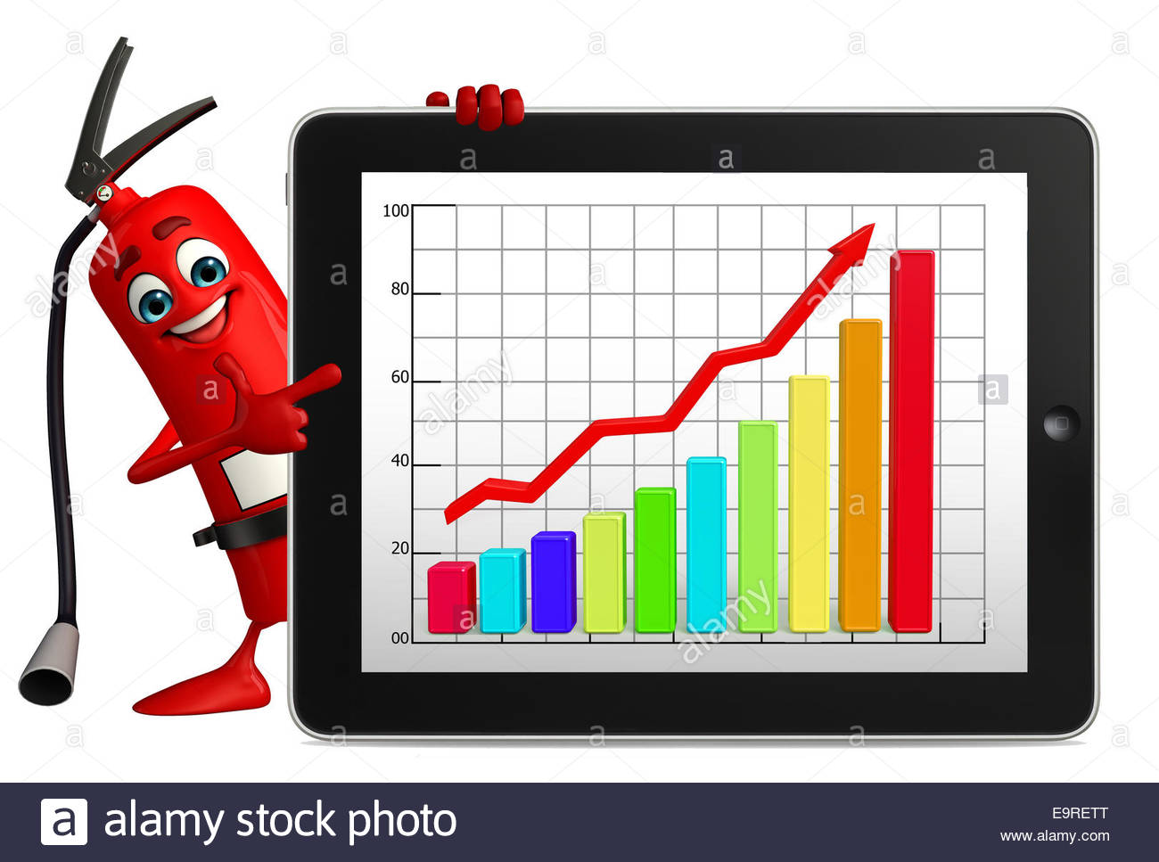 1300x967 Cartoon Character Of Fire Extinguisher With Business Graph Stock