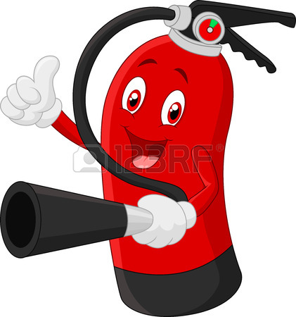 421x450 Cartoon Character Of Fire Extinguisher Giving Thumb Up Stock Photo