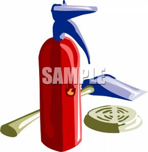 291x300 Image A Fireman's Axe With A Fire Extinguisher And Alarm