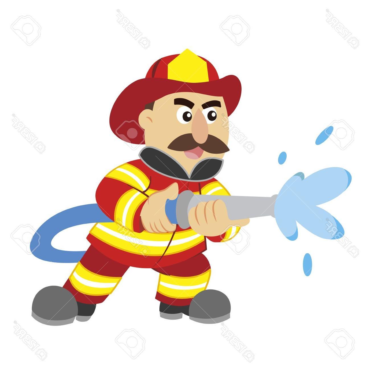 1300x1300 Best An Illustration Of Cartoon Fireman Stock Vector Firefighter