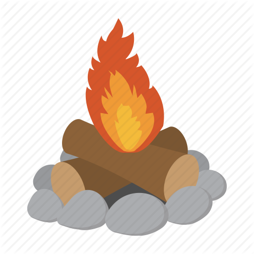 512x512 Camp, Campfire, Cartoon, Fire, Flame, Heat, Wood Icon Icon