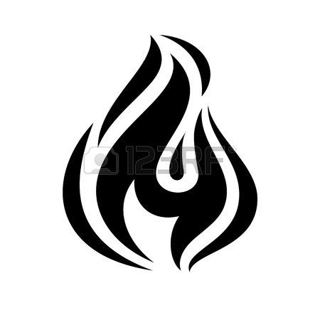 450x450 Fire Flame Icon, Black Icon Isolated On White Background Royalty