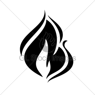 325x325 Fire Flames, Set Icons Gl Stock Images
