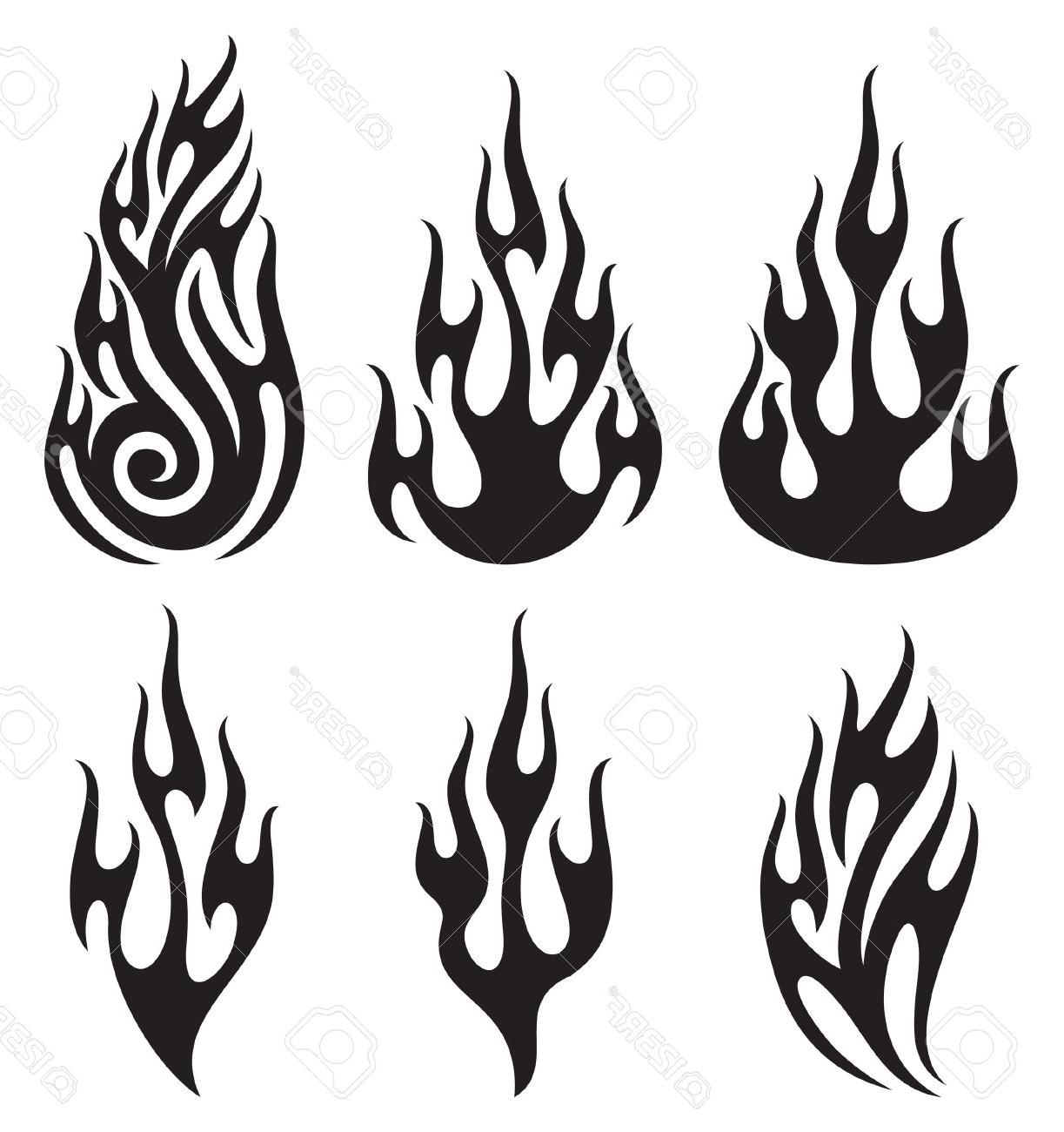 1223x1300 Top Set Of Vector Flames Stock Black White Flame Drawing