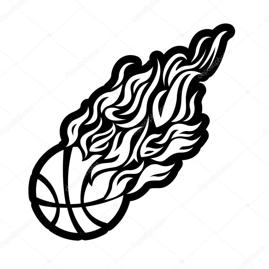 1024x1024 Vector, Flame, Fire, Ball, Black, Basketball, Symbol, Icon
