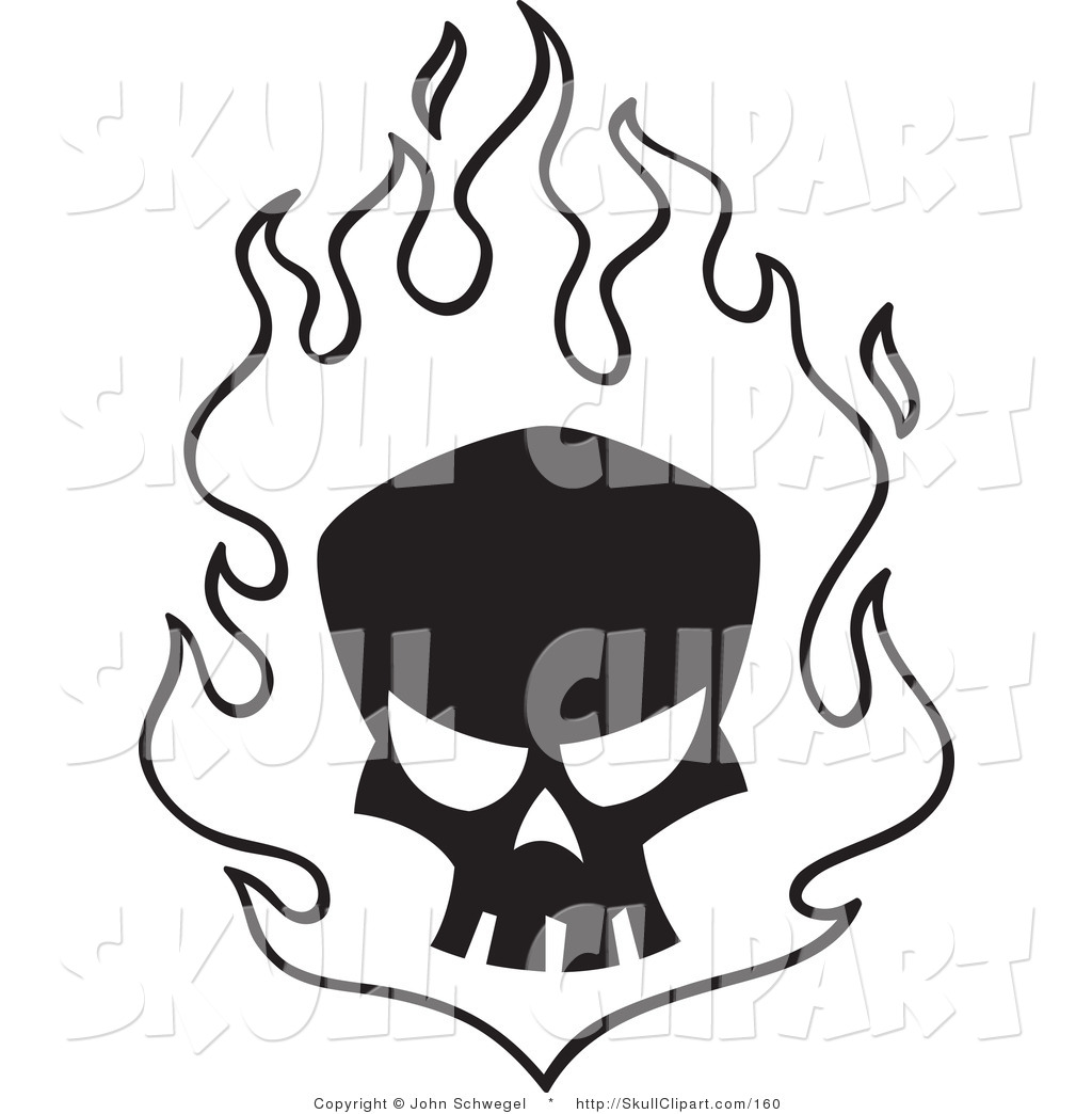 1024x1044 Vector Clip Art Of A Silhouetted Black Skull In White Flames By