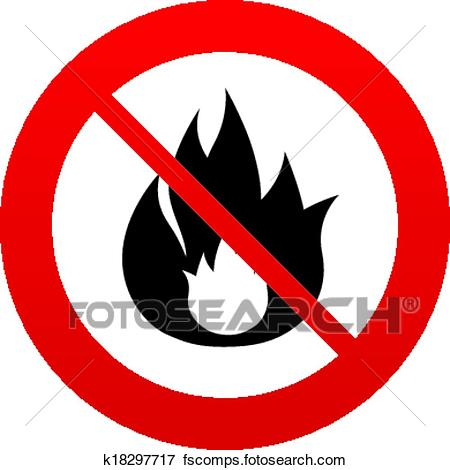 450x470 Clip Art Of No Fire Flame Sign Icon. Fire Symbol. K18297717