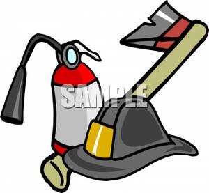 300x277 Fireman's Axe With A Fire Extinguisher And Hat