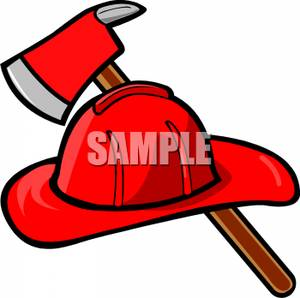 300x298 Fireman's Helmet And Axe Clipart Picture