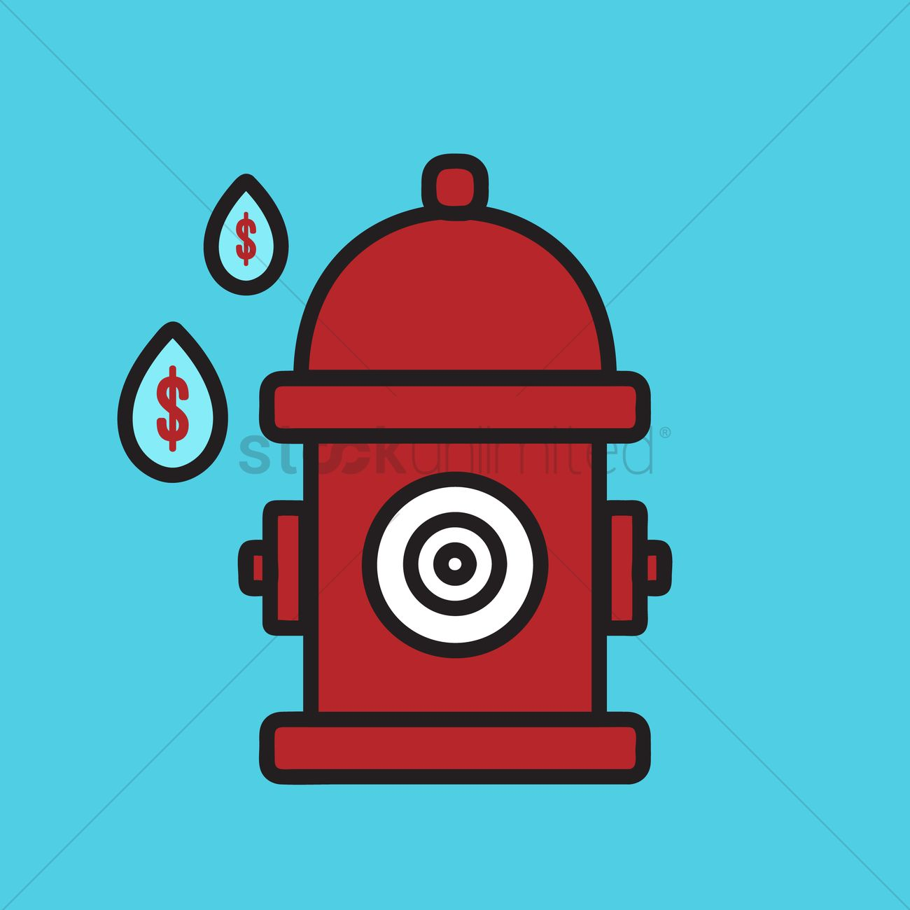 1300x1300 Fire Hydrant With Water Drops Vector Image