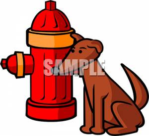 300x275 Free Clipart Image A Dog Sitting Next To A Red Fire Hydrant