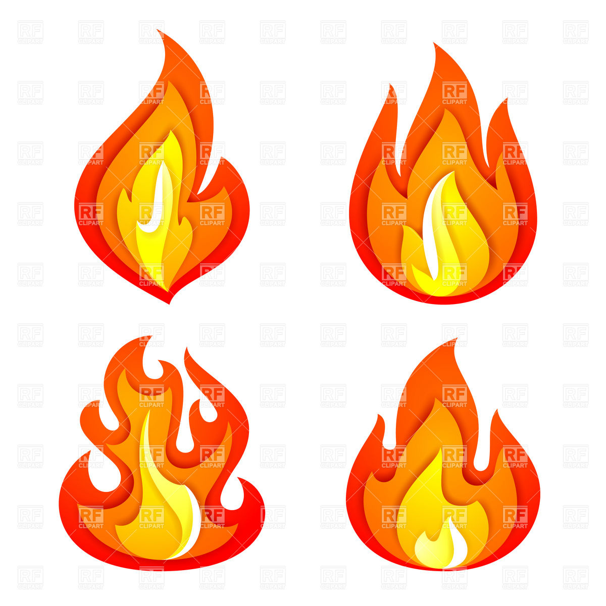 1200x1200 Simple Symbolic Fire And Flame Icons Royalty Free Vector Clip Art