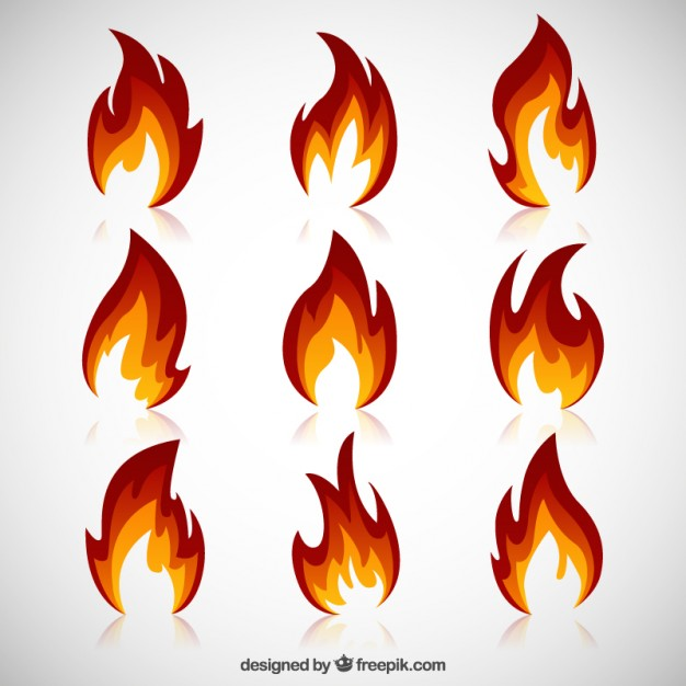 626x626 Variety Of Fire Flames Vector Free Download