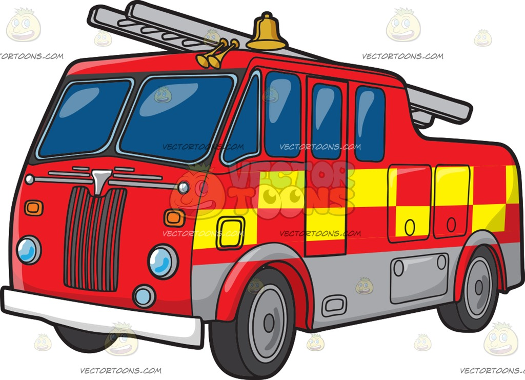 1024x741 A British Fire Truck Cartoon Clipart