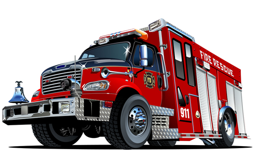 500x330 Cartoon Fire Truck Vector Material 05 Idea For Man Cards