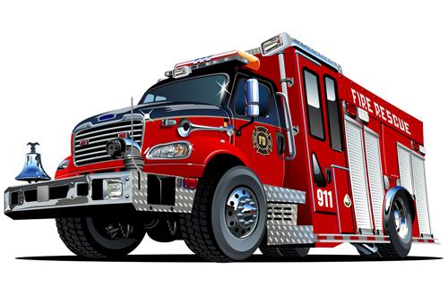 500x330 Cartoon Fire Truck Vector Material 05 Idea For Man Cards