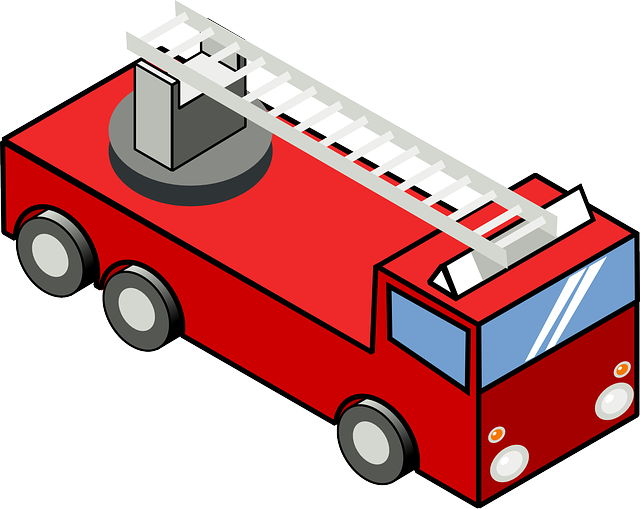 640x509 Fire, Engine, Cartoon, Truck, Ladder, Trucks, Iso