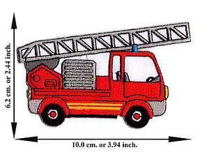 300x225 Red Fire Engine Truck Ladder Rescue Car Cartoon Cute Applique Iron