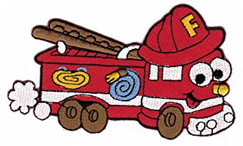 355x213 Red Fire Truck Cartoon Sew On Iron On Patches For Kids