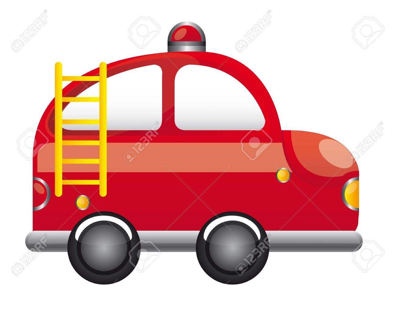 1300x1018 Red Fire Truck With Ladder Cartoon Vector Illustration Royalty