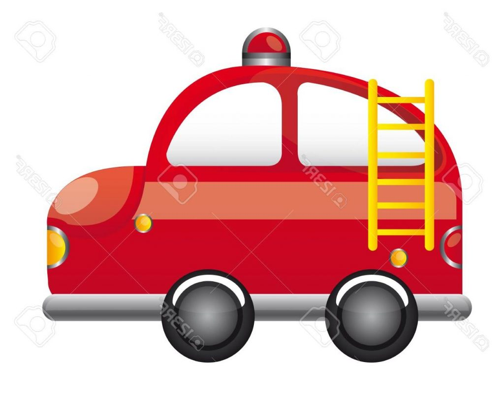 1024x802 Top 10 Red Fire Truck With Ladder Cartoon Vector Illustration