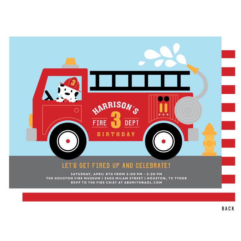 800x800 Fire Truck Invitation, Fire Truck Birthday Party Invitations