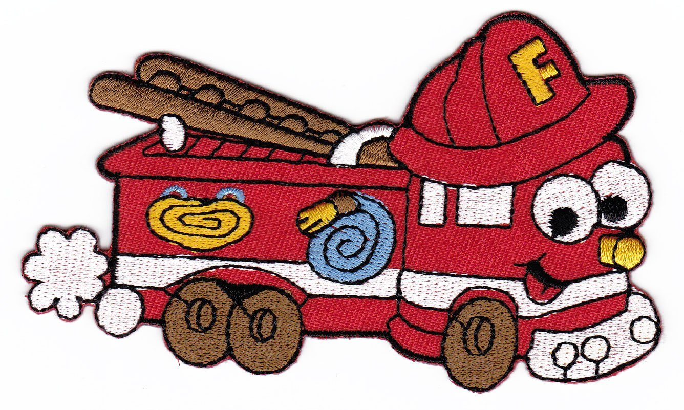 1336x801 Red Fire Truck Cartoon Sew On Iron On Patches For Kids