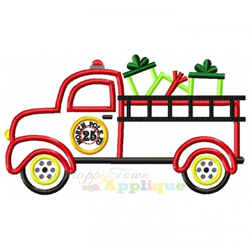 800x800 Christmas Fire Engine Clipart