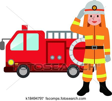 450x404 Clip Art Of Fire Truck And Firefighters K18494797