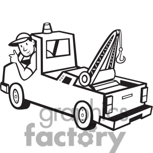 300x300 Tow Truck Clipart Black And White