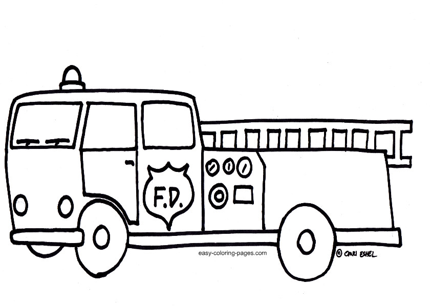 842x598 Fire Truck Outline Clipart