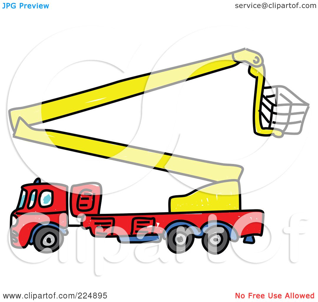 1080x1024 Royalty Free (Rf) Clipart Illustration Of A Sketched Fire Truck