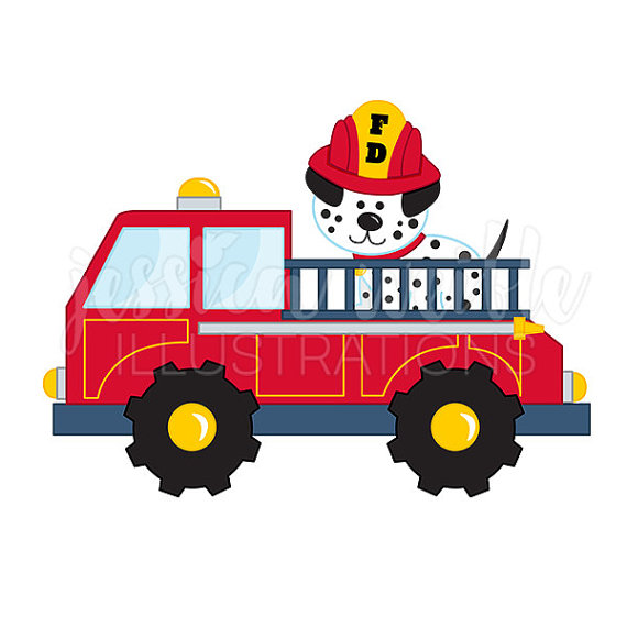 570x570 Fire Truck With Dalmatian Cute Digital Clipart By Jwillustrations