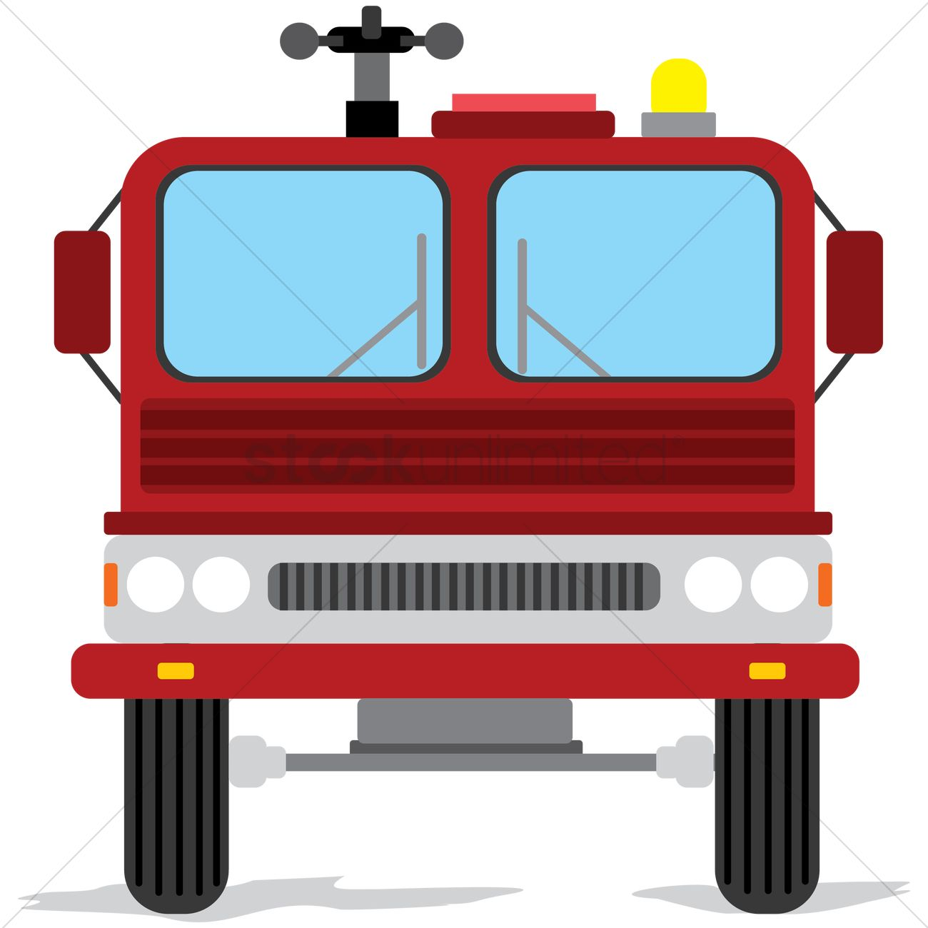 1300x1300 Front View Of Fire Truck Vector Image