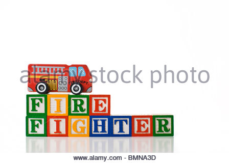448x320 Colorful Children's Blocks Spelling Fire Truck With A Toy Fire