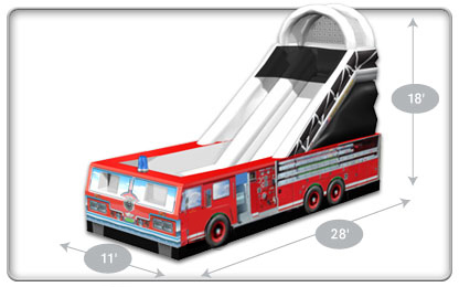 416x260 Fire Truck Inflatable Slide Clowns4kids